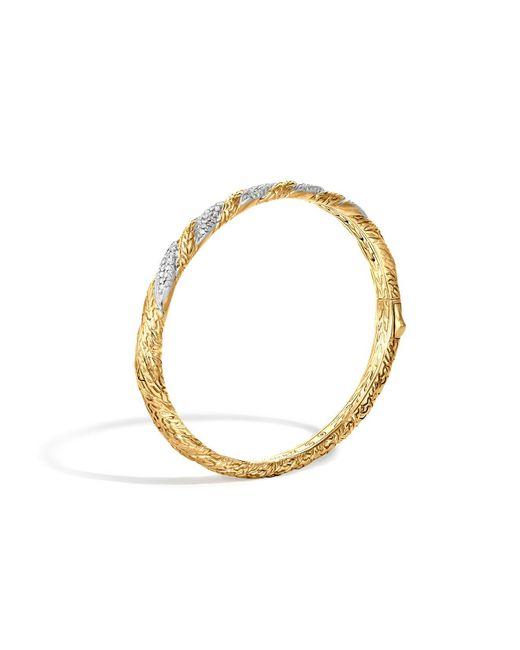 John Hardy | Metallic Classic Chain 18k Gold Diamond Pavé Hinged Bangle | Lyst