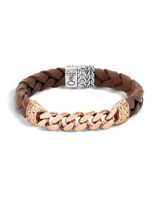 John Hardy | Metallic Men's Classic Chain Gourmette Bronze & Sterling Silver Bracelet On Braided Brown Leather Cord for Men | Lyst
