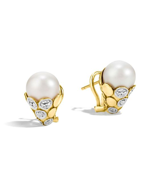 John Hardy | Metallic Dot 18k Yellow Gold Diamond Pave Earrings With Cultured Freshwater Pearls | Lyst