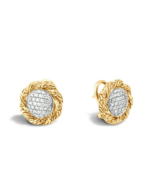 John Hardy | Metallic Classic Chain 18k Gold Diamond Pave Medium Stud Earrings | Lyst