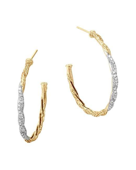 John Hardy   White Classic Chain 18k Gold Diamond Pave Medium Hoop Earrings   Lyst