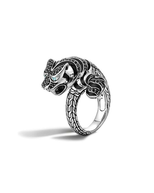John Hardy | Classic Chain Sterling Silver Lava Macan Ring With Black Sapphire, Black Spinel And Swiss Blue Topaz Eyes | Lyst
