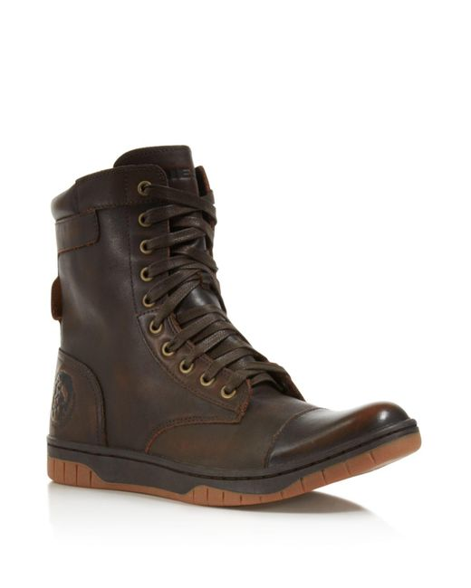 DIESEL | Brown Tatradium Basket Butch Zip Boots for Men | Lyst