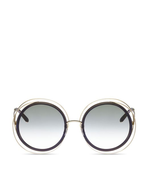 Chloé | Metallic Chloe Carlina Oversized Round Sunglasses, 58mm | Lyst