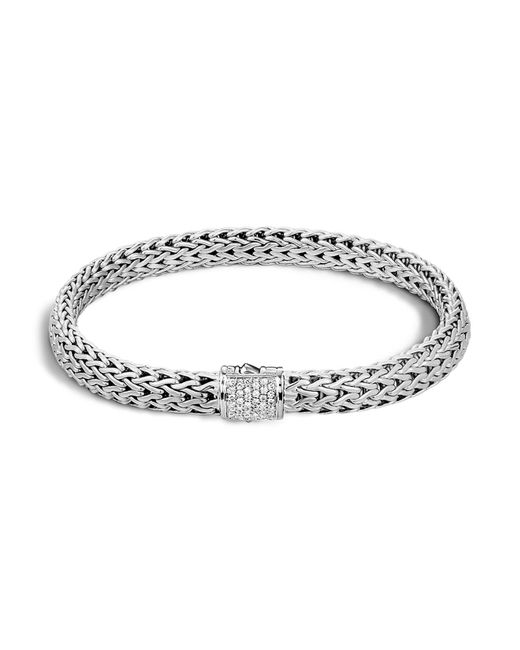 John Hardy | Metallic Classic Chain Sterling Silver Small Bracelet With Diamond Pavé | Lyst