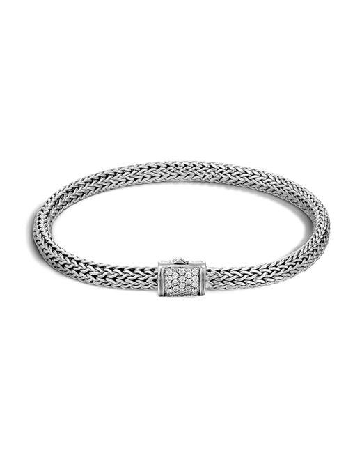 John Hardy | Metallic Classic Chain Sterling Silver Extra Small Bracelet With Diamond Pavé | Lyst