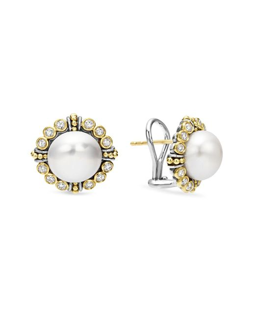 Lagos   Metallic Sterling Silver And 18k Gold Cultured Freshwater Pearl Earrings With Diamonds   Lyst