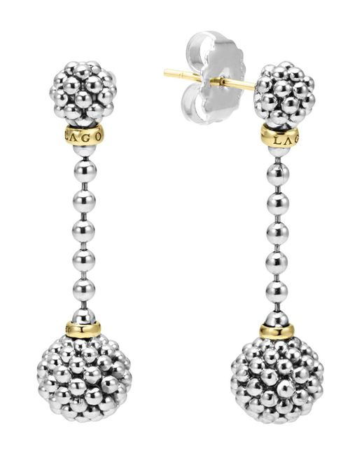 Lagos | Metallic Sterling Silver Caviar Beaded Drop Earrings With 18k Gold | Lyst