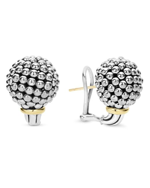 Lagos | Metallic Sterling Silver Large Caviar Bead Stud Earrings With 18k Gold | Lyst