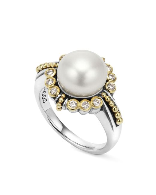 Lagos   Metallic Sterling Silver And 18k Gold Cultured Freshwater Pearl Ring With Diamonds   Lyst