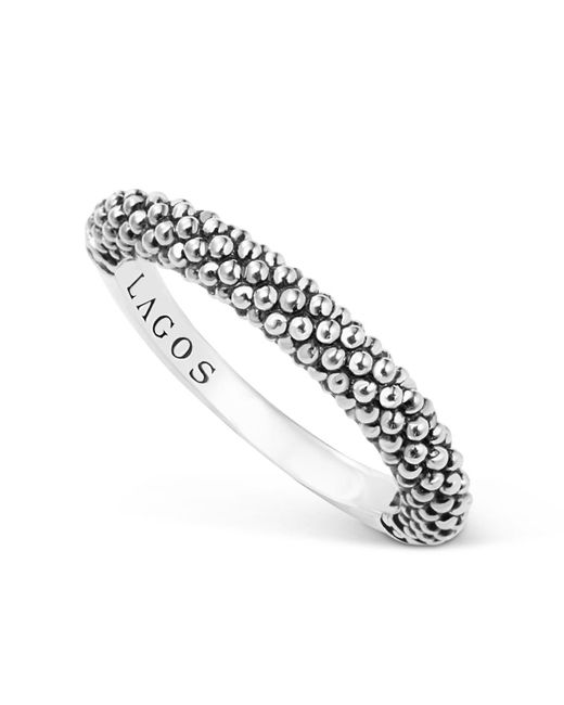 Lagos | Metallic Sterling Silver Caviar Beaded Stacking Ring | Lyst