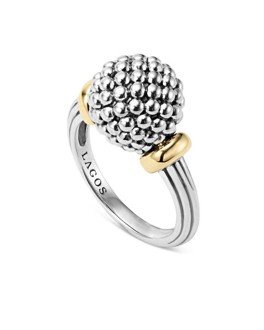 Lagos | Metallic Sterling Silver Caviar Beaded Ring With 18k Gold | Lyst