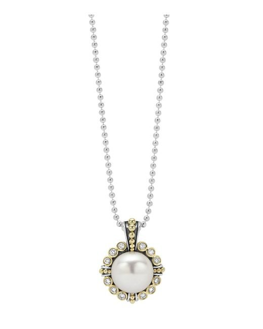 Lagos | Metallic Cultured Freshwater Pearl And Diamond Pendant Necklace With 18k Gold, 16"