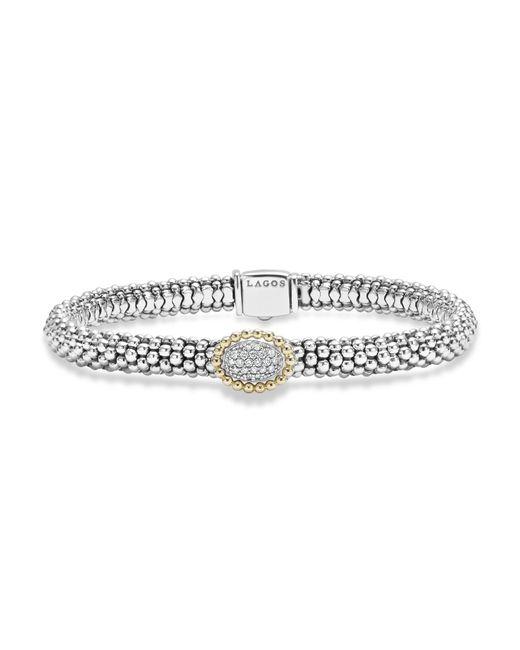 Lagos | Metallic Oval Diamond Station Sterling Silver Caviar Bracelet With 18k Gold | Lyst