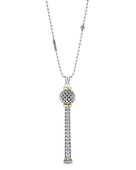 Lagos | Metallic 'luna' Diamond & Pearl Pendant Necklace | Lyst