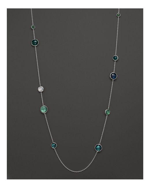 "Ippolita | Green Sterling Silver Wonderland Lollipop Station Necklace In Neptune, 40"" | Lyst"