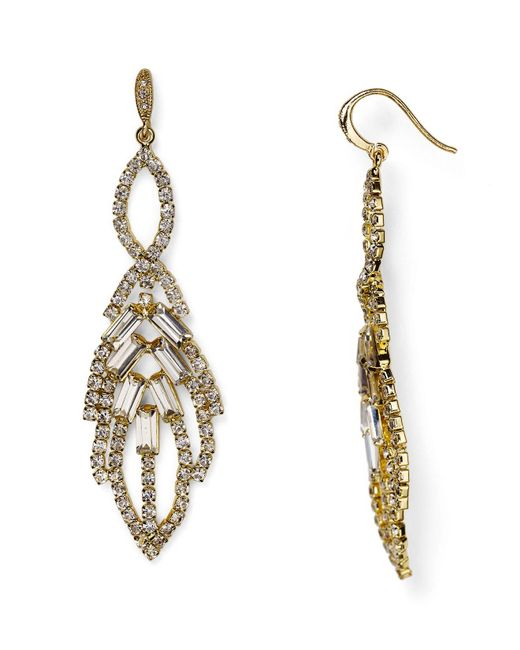 ABS By Allen Schwartz | Metallic Leaf Chandelier Earrings | Lyst