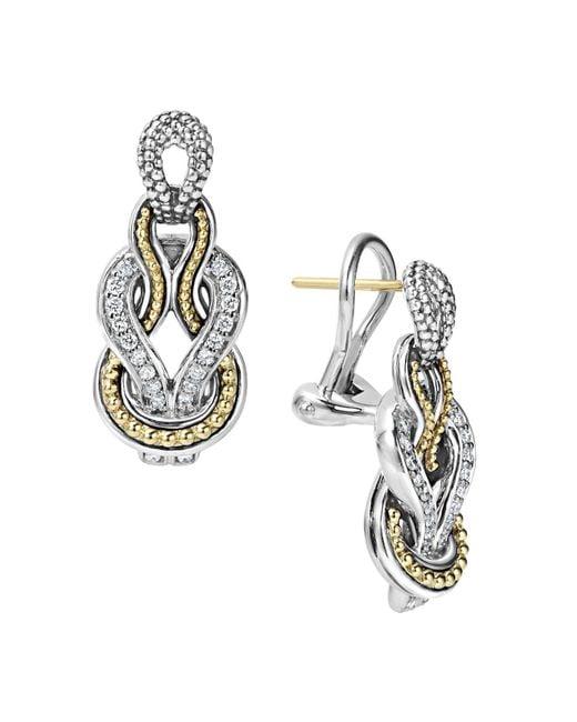 Lagos   Metallic Sterling Silver And 18k Gold Newport Diamond Earrings   Lyst