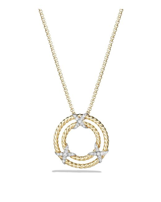 David Yurman | Metallic X Pendant Necklace With Diamonds In 18k Yellow Gold | Lyst
