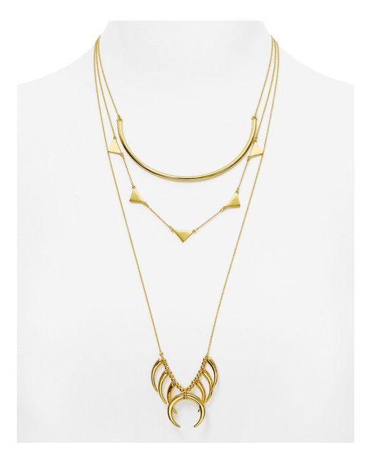 "BaubleBar | Metallic Native Tiered Necklace, 18""-26"" | Lyst"