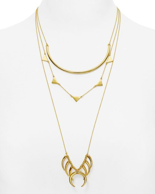 "BaubleBar | Metallic Native Tiered Necklace, 18""-26"" 
