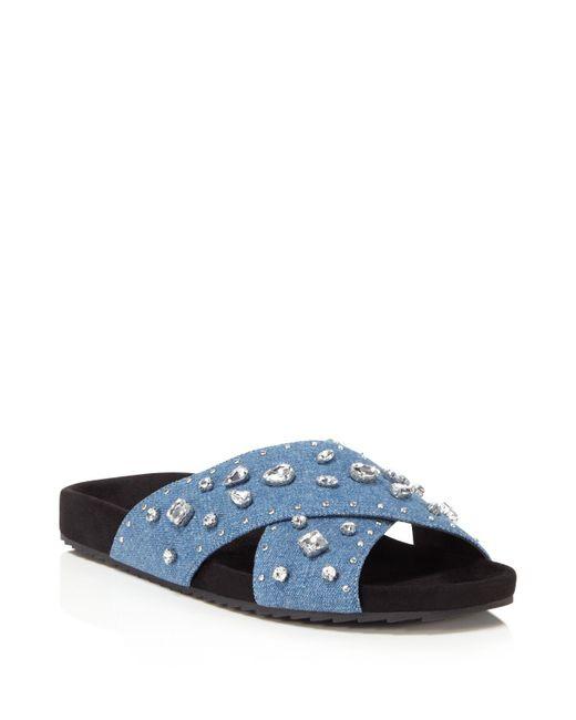 Rebecca Minkoff   Blue Theo Jeweled Denim Pool Slide Sandals   Lyst