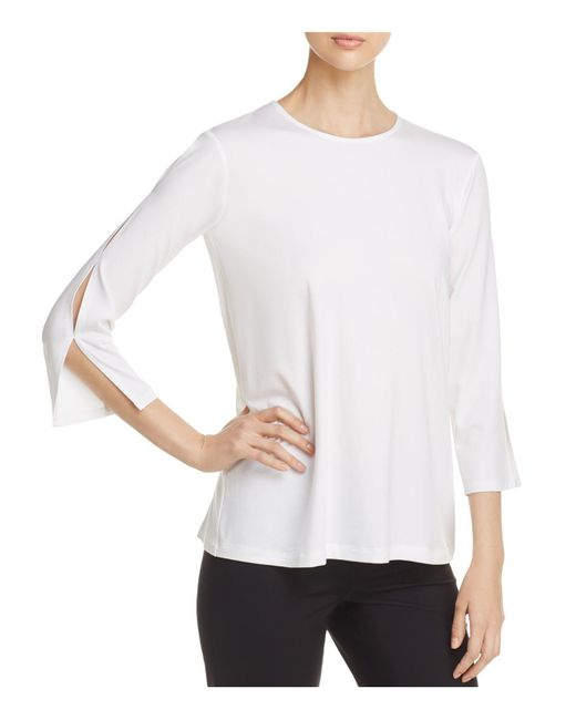 Eileen Fisher | White Slit Sleeve Top | Lyst