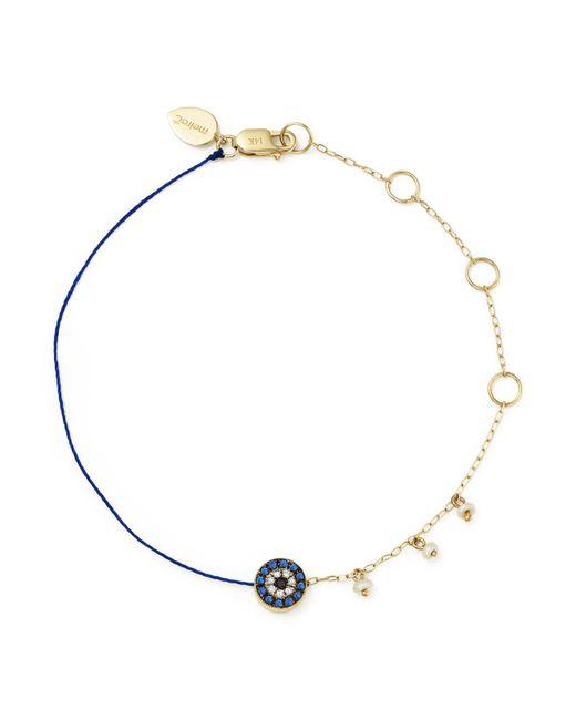Meira T | Metallic 14k Yellow Gold Sapphire And Diamond Evil Eye Bracelet | Lyst