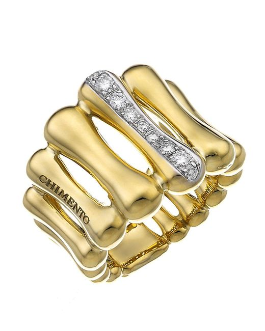 Chimento | Metallic 18k Yellow & White Gold Bamboo Over Collection Statement Ring With Diamonds | Lyst