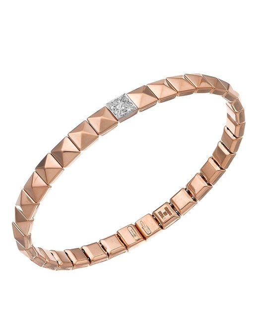 Chimento | Metallic 18k White & Rose Gold Armillas Pyramis Collection Square Link Bracelet With Diamonds | Lyst