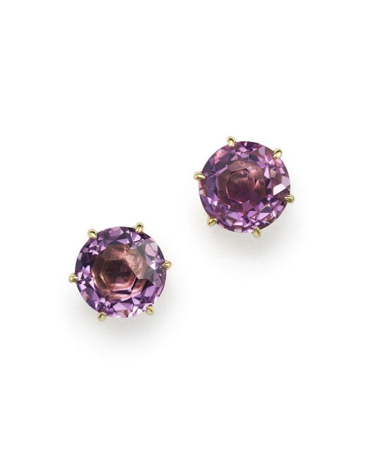 Ippolita | Purple 18k Gold Rock Candy® Medium Round Stud Earrings In Dark Amethyst | Lyst