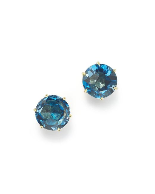 Ippolita | 18k Gold Rock Candy® Medium Round Stud Earrings In London Blue Topaz | Lyst
