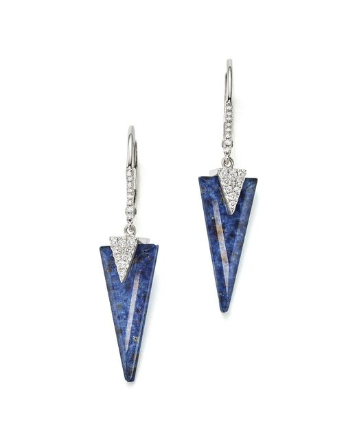 Meira T | Blue 14k White Gold And Diamond Sodolite Icicle Earrings | Lyst