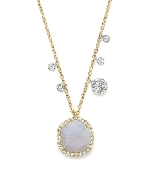 """Meira T   White 14k Yellow Gold Blue Lace Chalcedony Necklace, 16""""   Lyst"""