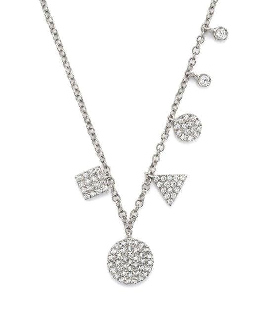 "Meira T | 14k White Gold Multiple Shape Diamond Disc Necklace, 16"" | Lyst"