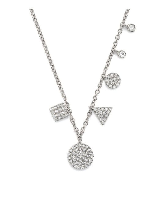 Meira T | 14k White Gold Multiple Shape Diamond Disc Necklace, 16"