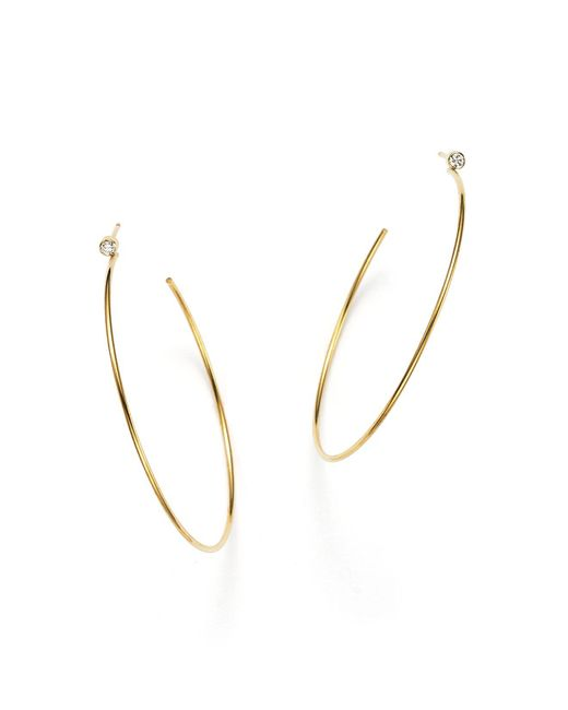 Zoe Chicco | Metallic 14k Gold Hoop Earrings With Bezel Set Diamonds | Lyst