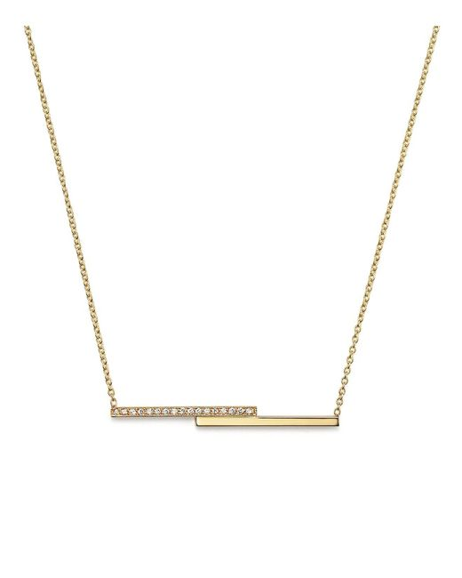Zoe Chicco | Metallic 14k Gold Staggered Bar Necklace With Pave Diamonds, 16"