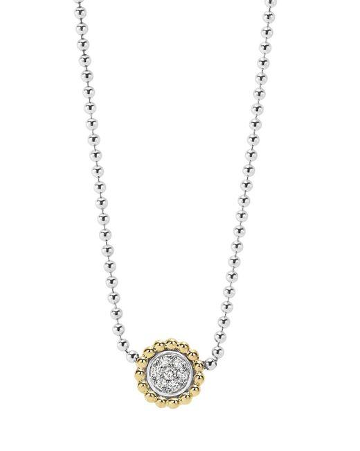 "Lagos | Metallic 18k Gold And Diamond Caviar Pendant Necklace, 16"" | Lyst"