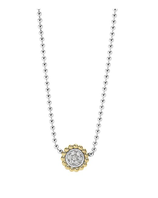 Lagos | Metallic 18k Gold And Diamond Caviar Pendant Necklace, 16"