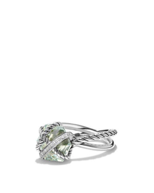 David Yurman | Metallic Petite Cable Wrap Ring With Prasiolite And Diamonds | Lyst