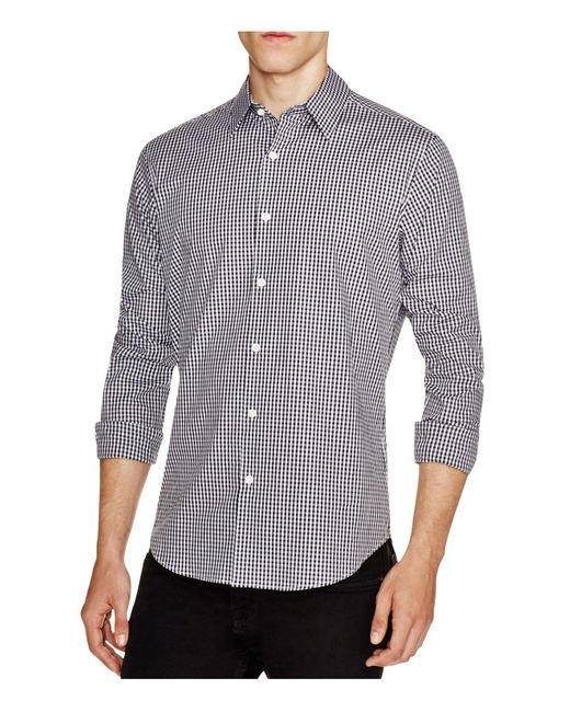 Theory | Gray Sylvain Amicable Gingham Slim Fit Button-down Shirt for Men | Lyst