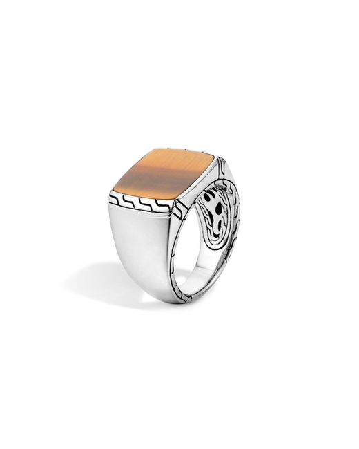 John Hardy | Metallic Batu Classic Chain Sterling Silver Signet Ring With Tiger's Eye for Men | Lyst