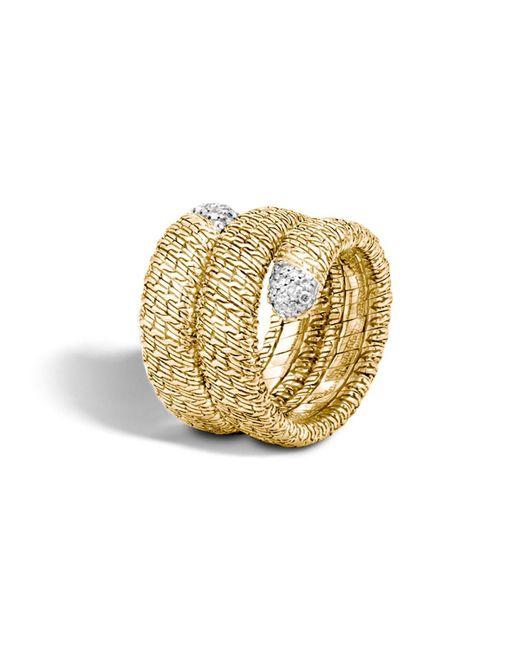 John Hardy | Metallic Classic Chain 18k Gold Diamond Pave Double Coil Ring | Lyst
