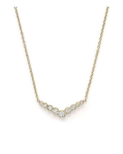 "Zoe Chicco | Metallic 14k Yellow Gold And Diamond Bezel-set V Necklace, 16""-18"" | Lyst"