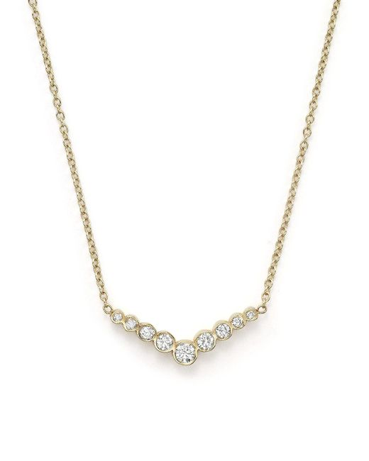 "Zoe Chicco | Metallic 14k Yellow Gold And Diamond Bezel-set V Necklace, 16"" | Lyst"