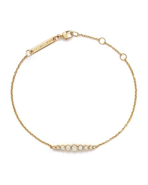 Zoe Chicco | Metallic 14k Yellow Gold And Diamond Graduated Bezel-set Bracelet | Lyst