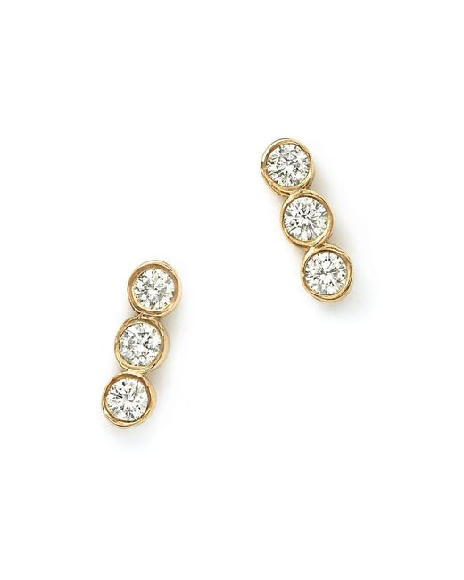 Zoe Chicco | Metallic 14k Yellow Gold And Diamond Bezel-set Trio Earrings | Lyst