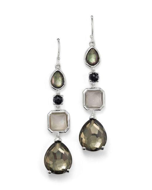 Ippolita   Multicolor Sterling Silver Rock Candy 4 Stone Linear Earrings In Black Tie   Lyst