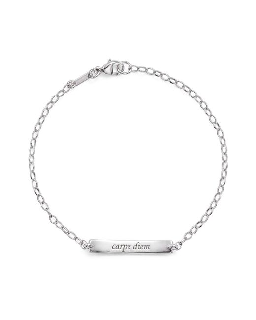 "Monica Rich Kosann | Metallic 18k White Gold Diamond Pave ""carpe Diem"" Posey Bracelet 
